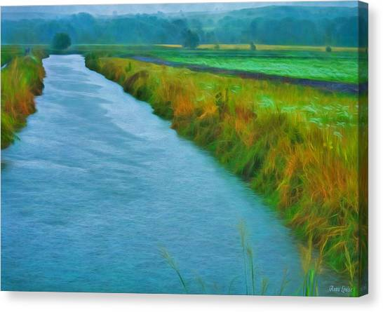Rainy Canal Canvas Print