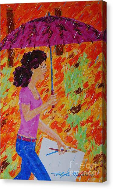 Rainy Day Artist Canvas Print