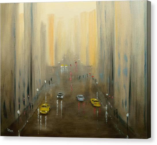 Rainy Day Cityscape Canvas Print