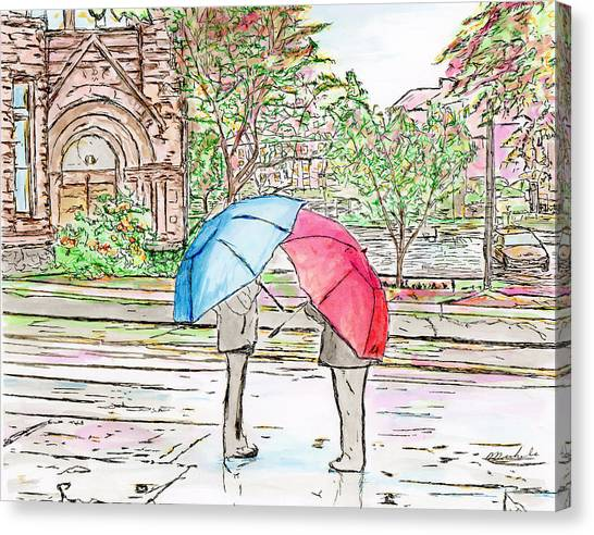 Rainy Day In Downtown Worcester, Ma Canvas Print