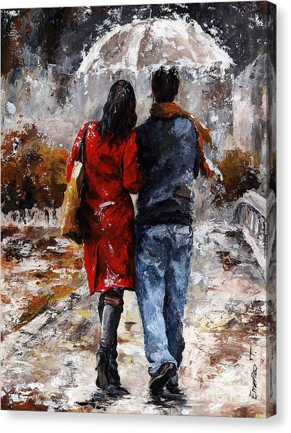 Teenager Canvas Print - Rainy Day - Walking In The Rain by Emerico Imre Toth