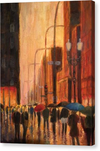 Rainy Evening Chicago Canvas Print