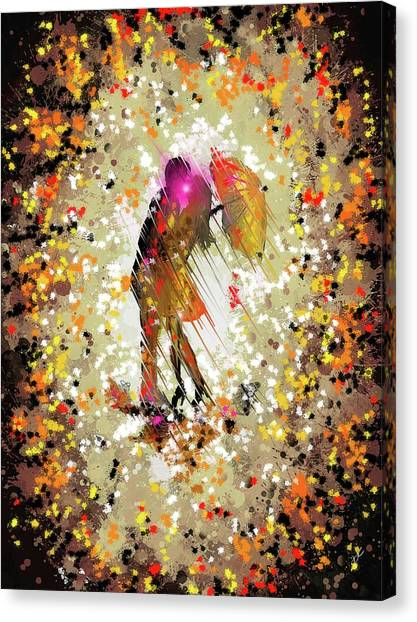 Canvas Print featuring the digital art Rainy Love by Darren Cannell