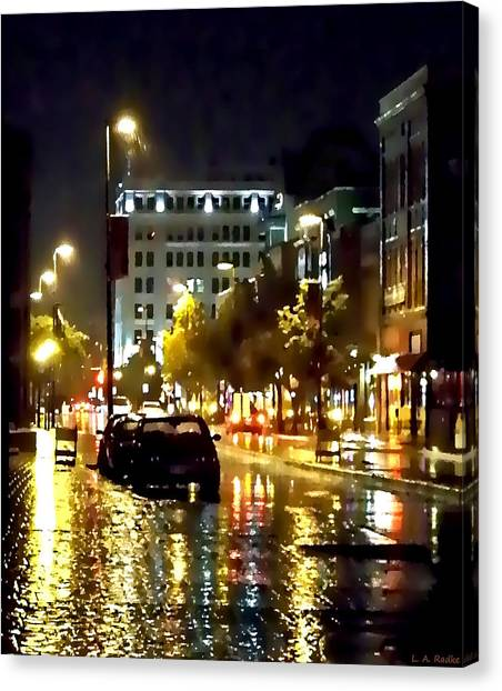 Rainy Night In Green Bay Canvas Print