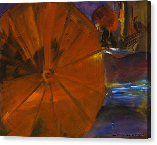 Rainy Night In The City Canvas Print by Pamela Goedhart