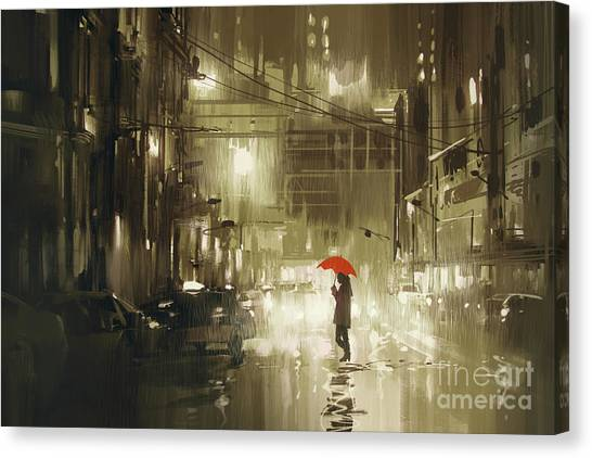 Canvas Print featuring the painting Rainy Night by Tithi Luadthong