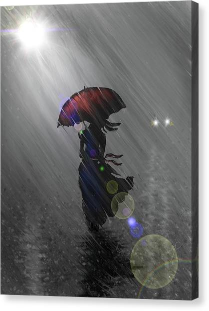 Canvas Print featuring the digital art Rainy Walk by Darren Cannell