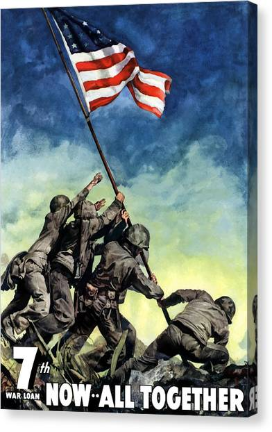 Flag Canvas Print - Raising The Flag On Iwo Jima by War Is Hell Store