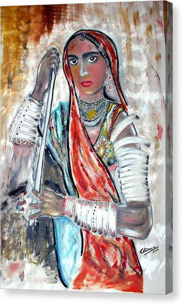 Rajasthani Woman Canvas Print by Narayanan Ramachandran