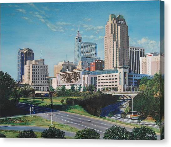Raleigh Downtown Realistic Canvas Print