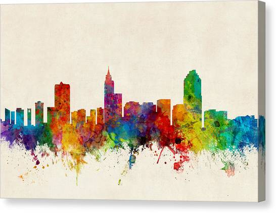 North Carolina Canvas Print - Raleigh North Carolina Skyline by Michael Tompsett