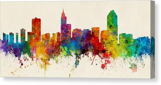 North Carolina Canvas Print - Raleigh North Carolina Skyline Panoramic by Michael Tompsett