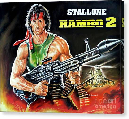 Sylvester Stallone Canvas Print - Rambo 2 Sylvester Stallone Paintinf by Kostas Soutsos