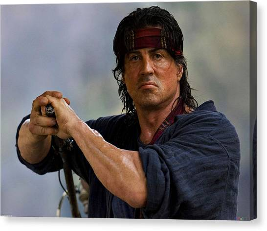 Sylvester Stallone Canvas Print - Rambo Sylvester Stallone by Movie Poster Prints