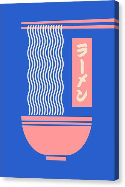 Japan Canvas Print - Ramen Japanese Food Noodle Bowl Chopsticks - Blue by Ivan Krpan