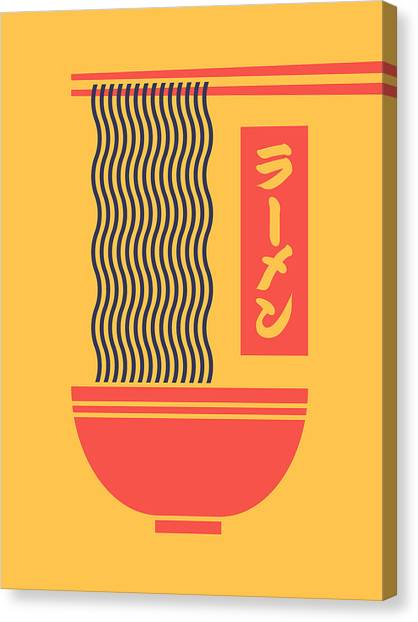 Japan Canvas Print - Ramen Japanese Food Noodle Bowl Chopsticks - Yellow by Ivan Krpan