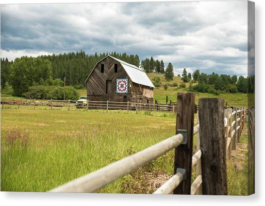 Ranch Fence And Barn With Hex Sign Canvas Print