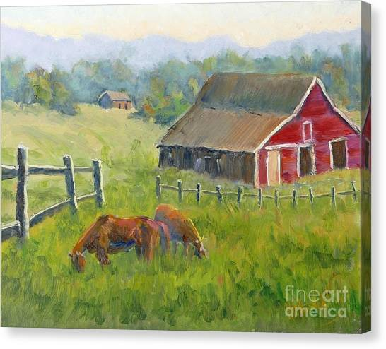Brown Ranch Trail Canvas Print - Ranch On The Cowboy Trail by Mohamed Hirji