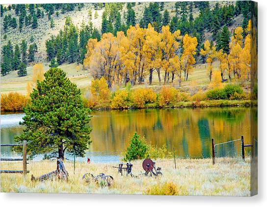 Ranch Pond In Autumn Canvas Print