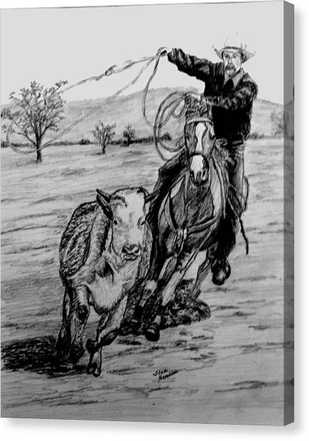 Ranch Work Canvas Print by Stan Hamilton
