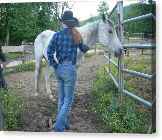 Ranchhand With Horsey Canvas Print by Beebe Barksdale-Bruner