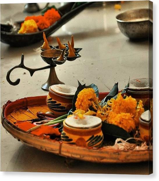 Hinduism Canvas Print - Random Puja Shot From God Knows by Senjuti Kundu