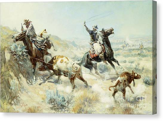 Lassos Canvas Print - Range Mother by Charles Marion Russell