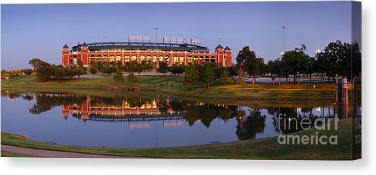 Texas Rangers Canvas Print - Rangers Ballpark In Arlington At Dusk by Jon Holiday