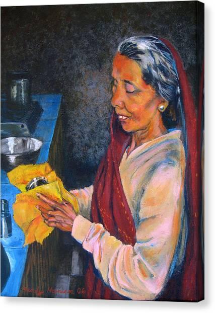 Rani The Cook Canvas Print by Art Nomad Sandra  Hansen