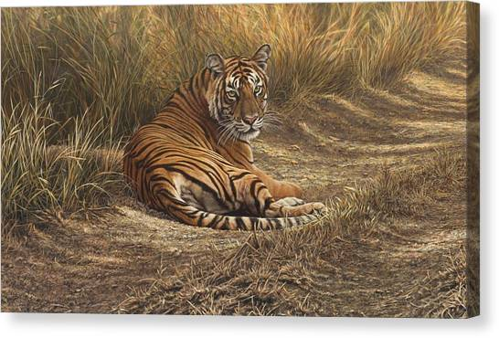 Canvas Print featuring the painting Ranthambore Roadblock by Alan M Hunt