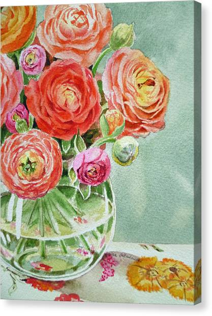 Red Roses Canvas Print - Ranunculus In The Glass Vase by Irina Sztukowski