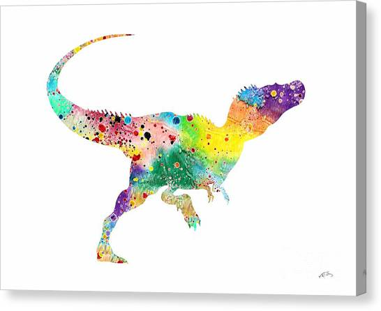Dinosaurs Canvas Print - Raptor 2 Dinosaur Watercolor by Svetla Tancheva