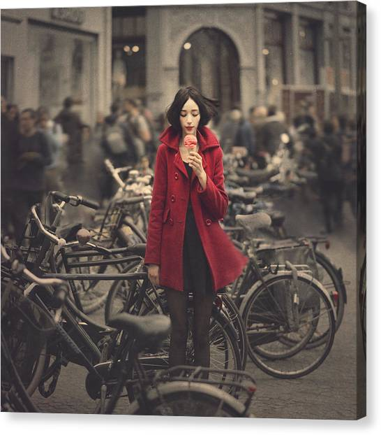 Bicycle Canvas Print - raspberry sorbet in Amsterdam by Anka Zhuravleva