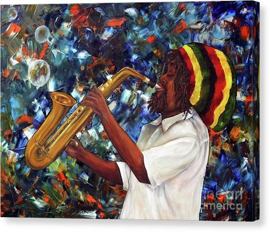 Rasta Sax Player Canvas Print