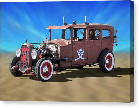Street Rods Canvas Print - Rat Rod On Beach 3 by Mike McGlothlen