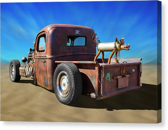 Street Rods Canvas Print - Rat Truck On Beach 2 by Mike McGlothlen
