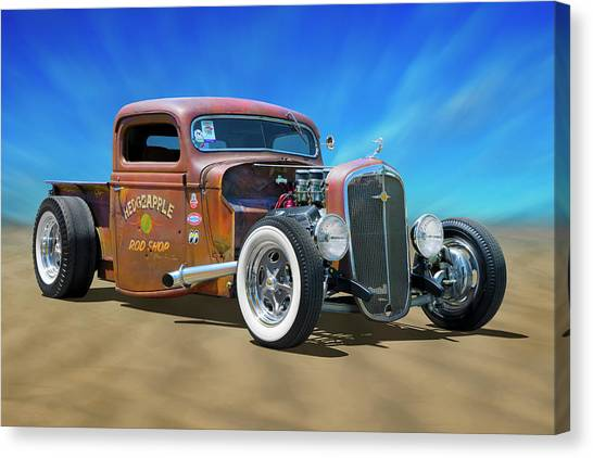 Street Rods Canvas Print - Rat Truck On The Beach by Mike McGlothlen