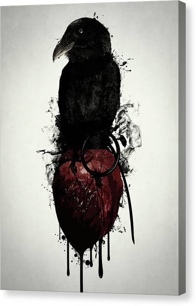 Ravens Canvas Print - Raven And Heart Grenade by Nicklas Gustafsson