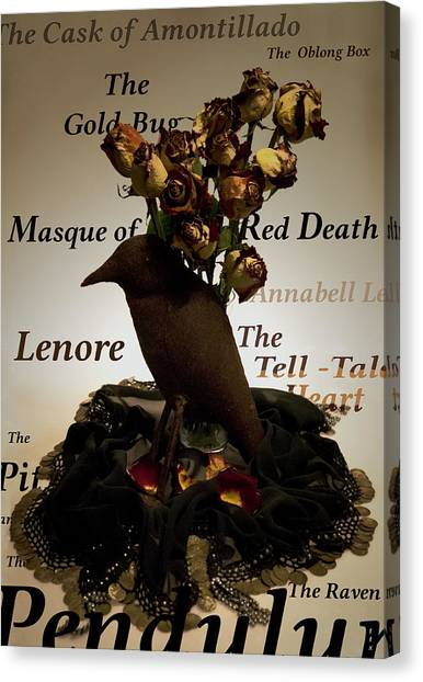 Raven And Roses Canvas Print