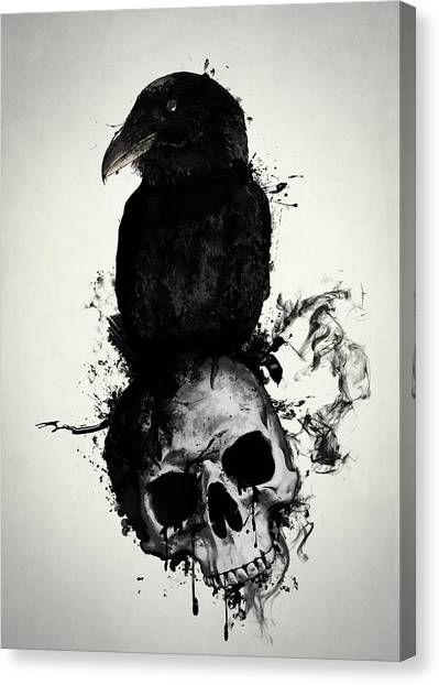 Ravens Canvas Print - Raven And Skull by Nicklas Gustafsson