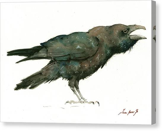 Ravens Canvas Print - Raven Bird by Juan Bosco