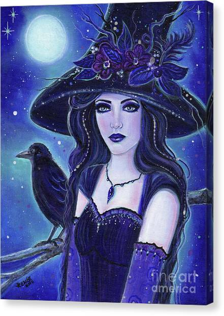 Witches Canvas Print - Raven Halloween Witch by Renee Lavoie