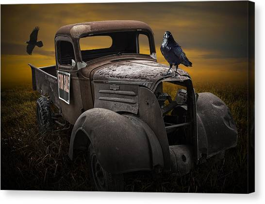 Raven Hood Ornament On Old Vintage Chevy Pickup Truck Canvas Print