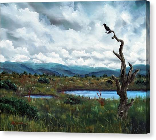 Wetlands Canvas Print - Raven In A Bleak Landscape by Laura Iverson