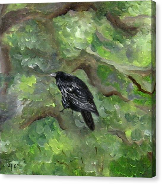 Raven In The Om Tree Canvas Print