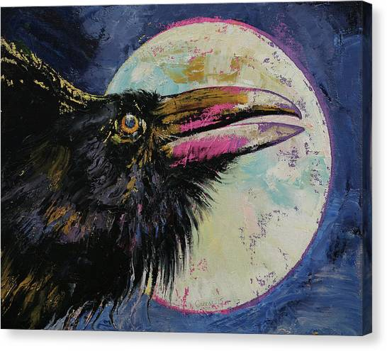 Luna Canvas Print - Raven Moon by Michael Creese