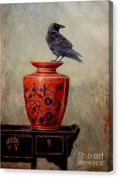 Blackbirds Canvas Print - Raven On Red  by Lori  McNee