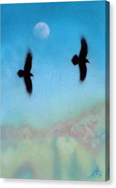 Raven Pair With Diurnal Moon Canvas Print by Robin Street-Morris