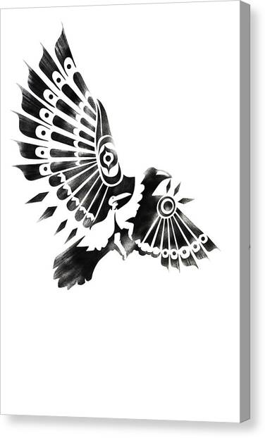 Canvas Print featuring the painting Raven Shaman Tribal Black And White Design by Sassan Filsoof