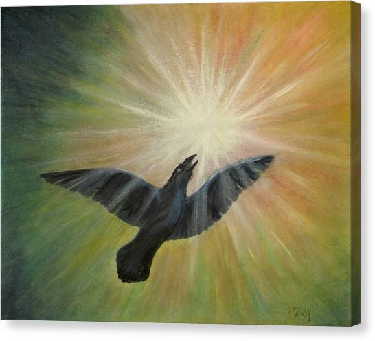 Raven Steals The Light Canvas Print by Bernadette Wulf